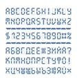 Digital font alphabet letters and numbers vector image