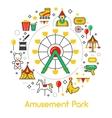 Amusement Park Line Art Thin Icons Set vector image