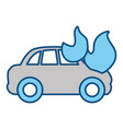 Car burning and danger emergency accident vector image