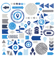 set of sketch geometric elements - arrows circles vector image