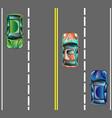 top view cars on asphalt road vector image