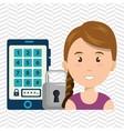 woman smartphone password vector image