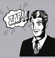 man zap bubble speech style pop art vector image