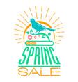 spring sale design singing bird vector image