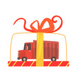 toy truck in a transparent gift box cartoon vector image