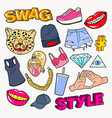 Swag style teenage fashion doodle with lips vector image
