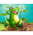 A crocodile above the stump near the pond vector image
