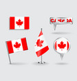 Set of Canadian pin icon and map pointer flags vector image
