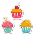 Food labels or stickers set cupcakes vector image