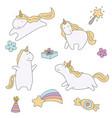 set of unicorn set of unicorn vector image