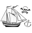 ship anchor and human skull vector image