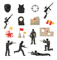 Paintball Icons Set vector image