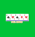 paper sticker on stylish background poker full vector image