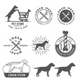 Retro pet care labels badges and design elements vector image vector image