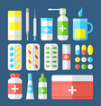 Medicines isolated on dark background vector image