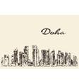 Doha skyline hand drawn vector image