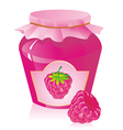 raspberry jam and raspberries vector image vector image