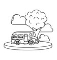 line school bus in the city with clouds and tree vector image