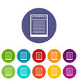 paper clips box icons set flat vector image