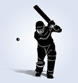 Silhouette cricketer vector image