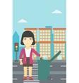 Woman throwing away trash vector image