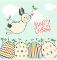 beautiful easter card with flying easter bunny on vector image