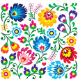 Floral Polish folk art pattern in square vector image
