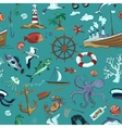 Colored Nautical or marine themed seamless pattern vector image