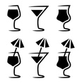 cocktail glass silhouette with parasol vector image