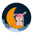 cute moon sleeping icon vector image