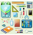 set school accessories vector image