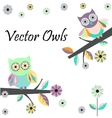 Two cute owls vector image