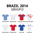 World Cup Brazil 2014 - group D teams jerseys vector image vector image