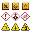 warning symbols  hazard signsforth set vector image