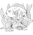fish seaweed and shells vector image