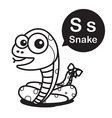 S Snake cartoon and alphabet for children to vector image