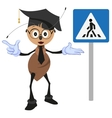 Ant teacher explains rules of road Pedestrian vector image