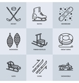 Cute thin line icons of winter sports Outdoor vector image
