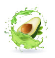 fresh avocado fruit juice splash realistic vector image