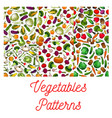 Vegetables vegetarian seamless patterns set vector image