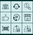 set of 9 commerce icons includes telephone vector image