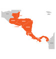 map of central america region with red highlighted vector image