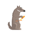 cute cartoon wolf holding a toothbrush and a vector image