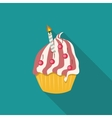 Birthday Cake Flat Icon with Long Shadow vector image vector image