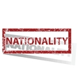 NATIONALITY outlined stamp vector image