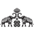 Stylized decorated elephants and lotus flower vector image vector image