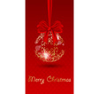 Christmas bell on red background vector image vector image