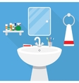 bathroom with wash stand and mirror vector image