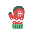bright red winter knitted mitten vector image