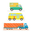 cartoon transport set postal truck school bus vector image